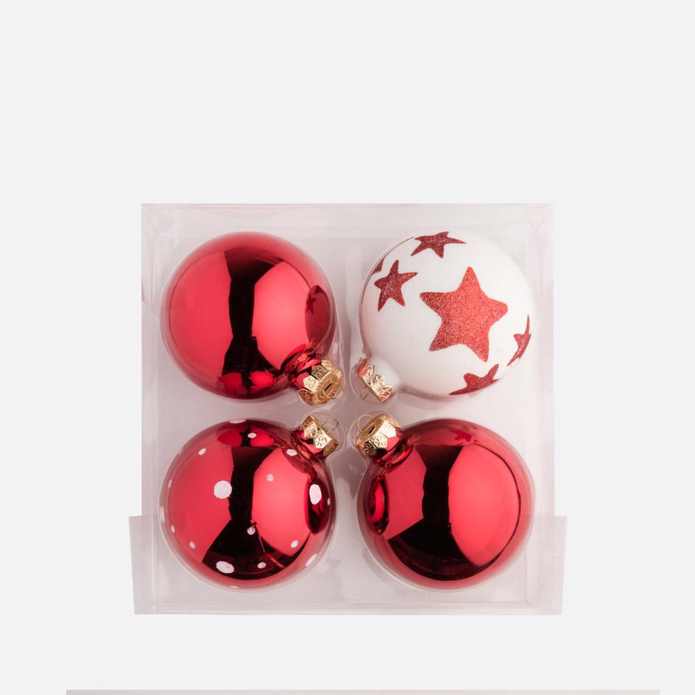 Conjunto 4 bolas de natal RUBRO