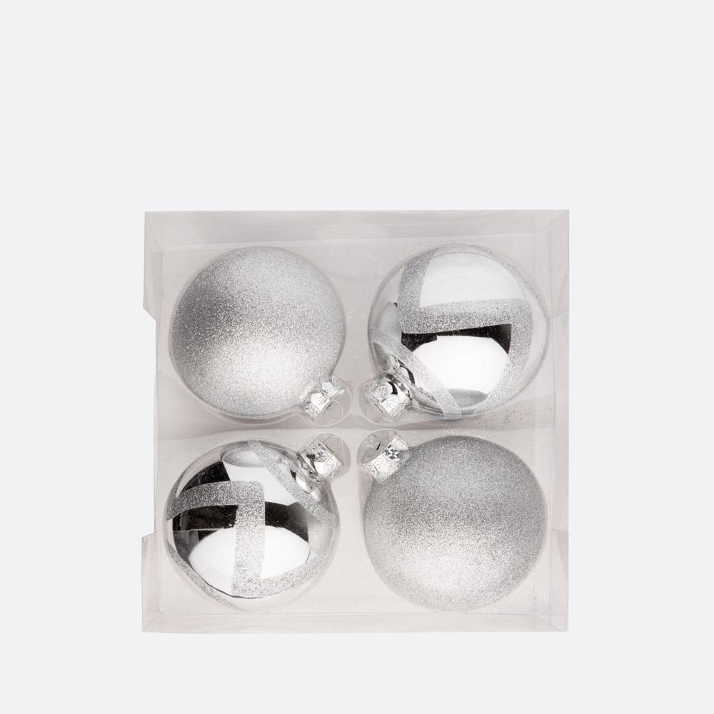 Conjunto 4 bolas de natal SHINY