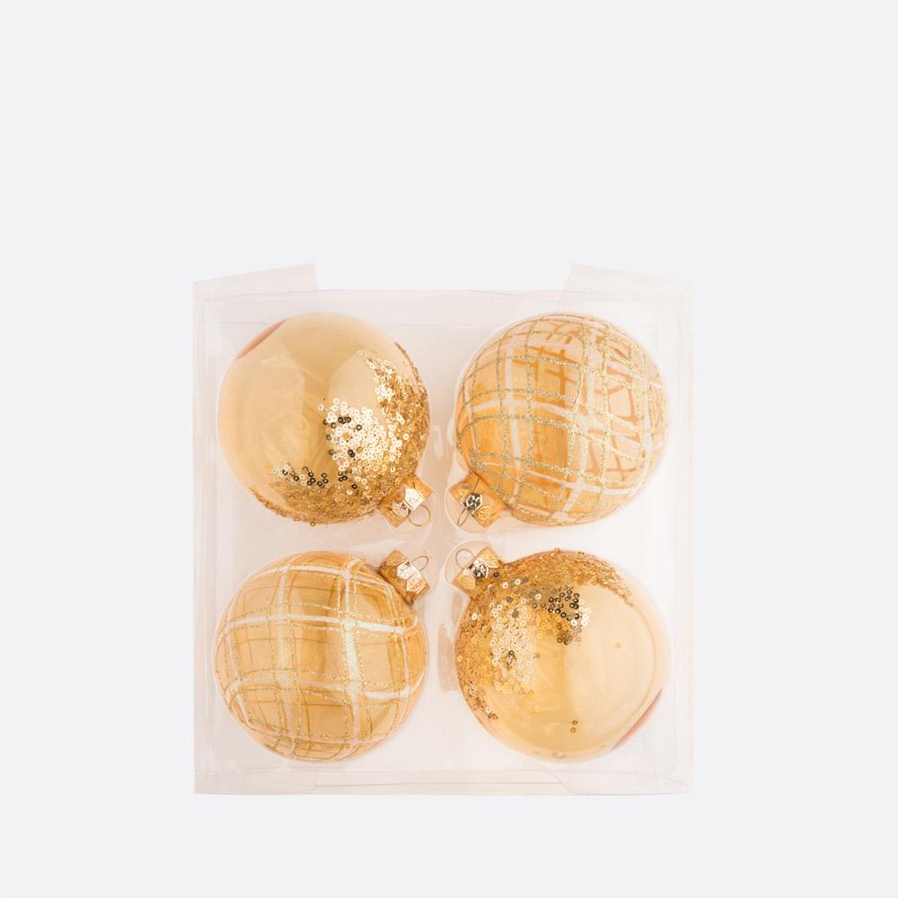 Conjunto 4 bolas de natal BLING